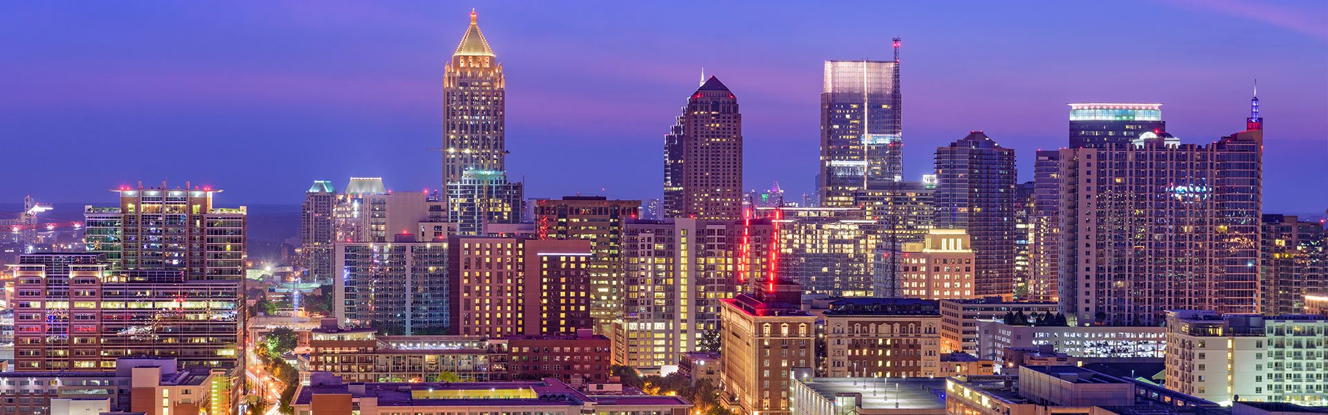 Atlanta skyline at dusk.